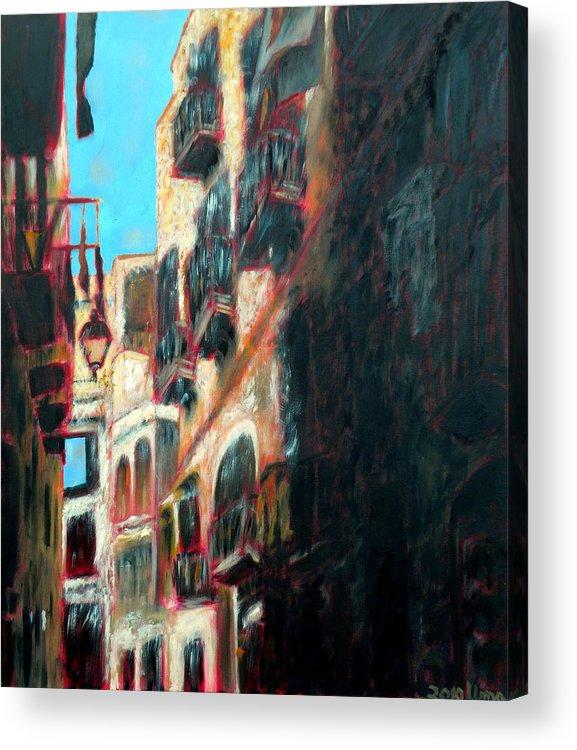A Narrow Street Acrylic Print featuring the painting A Narrow Street by Uma Krishnamoorthy