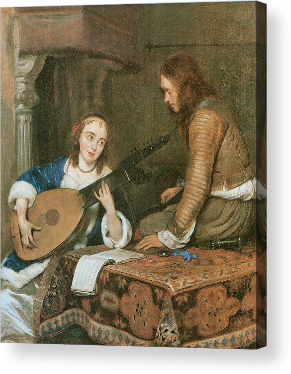 Gerard Terborch Acrylic Print featuring the painting A Woman Playing The Theorbo-lute And A Cavalier by Gerard Terborch