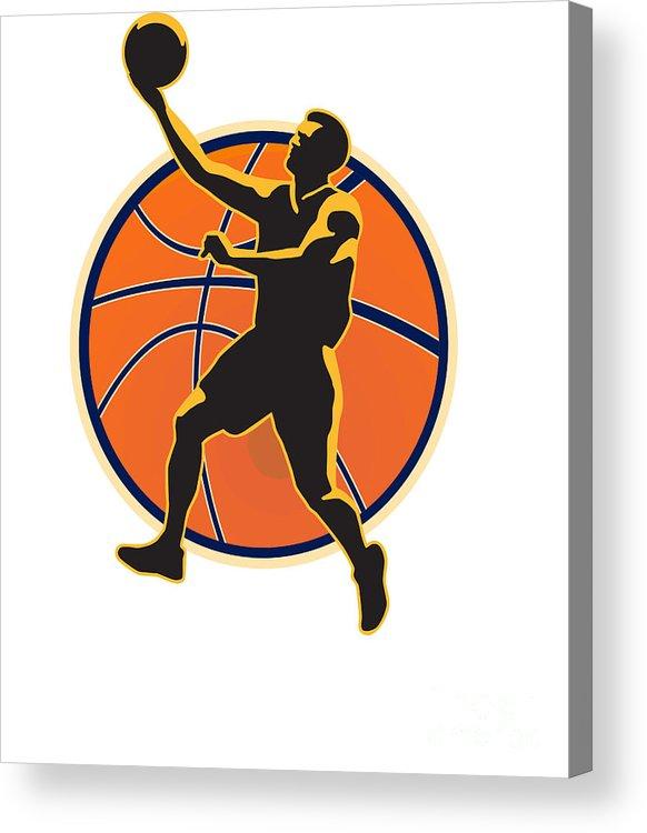 Basketball Acrylic Print featuring the digital art Basketball Player Lay Up Ball by Aloysius Patrimonio