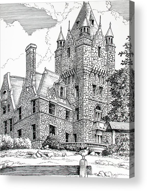 Historic Poster Acrylic Print featuring the drawing Boldt Castle With Seagull by Philip Lee
