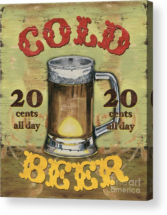 Food Acrylic Print featuring the painting Cold Beer by Debbie DeWitt