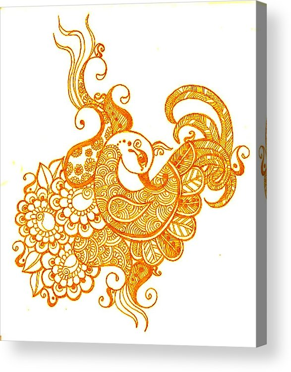 Mehndi Acrylic Print featuring the drawing Gold by Jessica Petty