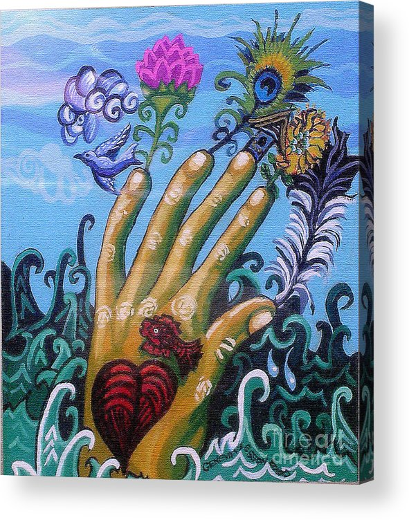 Hand Acrylic Print featuring the painting Le Destin Du Humain by Genevieve Esson