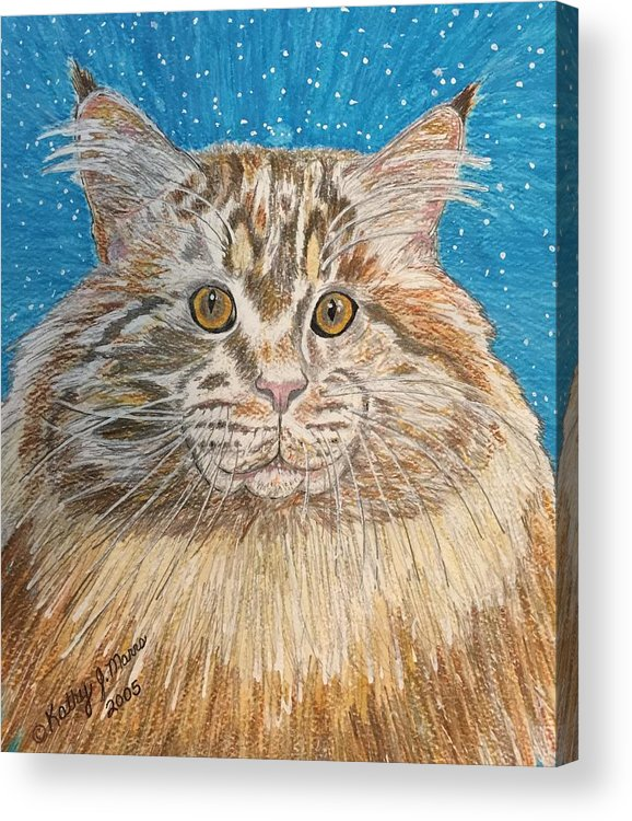 Maine Acrylic Print featuring the painting Maine Coon Cat by Kathy Marrs Chandler