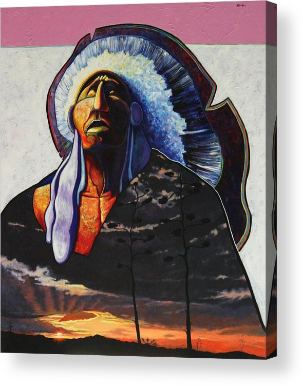 Native American Acrylic Print featuring the painting Make Me Worthy by Joe Triano