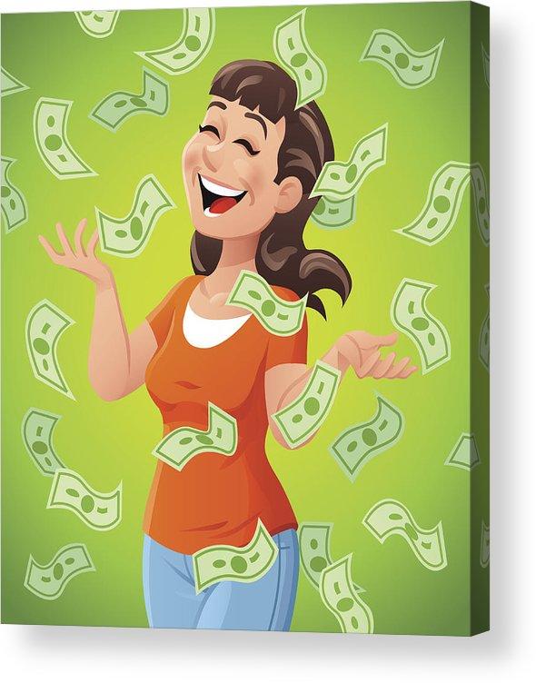 Money Raining Down On Woman Acrylic Print By Kbeis