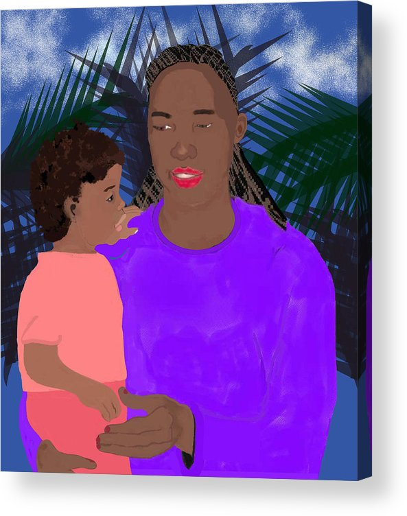 Mother Acrylic Print featuring the painting Mother And Daughter by Pharris Art