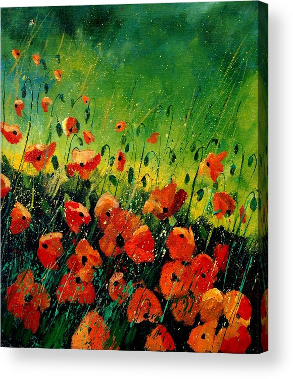 Poppies Acrylic Print featuring the painting Orange Poppies by Pol Ledent