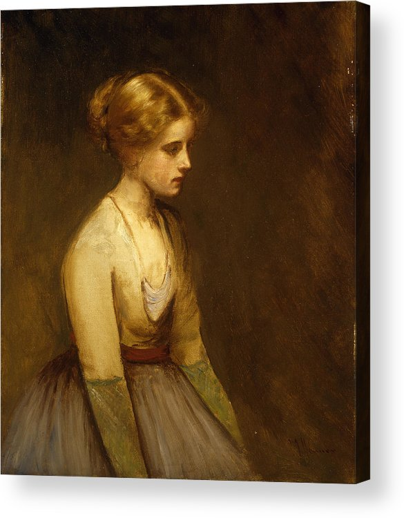 Study; Fair-haired; Beauty; Female; Woman; Girl; Young; Youth; Three-quarter Length; Demure; Modest; Beautiful; Thoughtful; Pensive; Full; Skirt; Brown; Background; Golden; Earthy; Tone; Tones; Shy; Blonde Acrylic Print featuring the painting Study Of A Fair Haired Beauty by Jean Jacques Henner