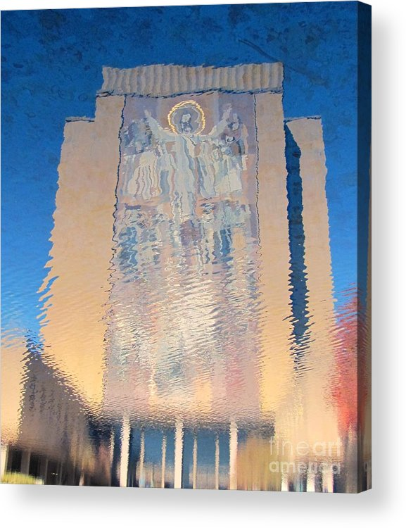 Reflection Acrylic Print featuring the photograph Touchdown Jesus by Barry Bohn