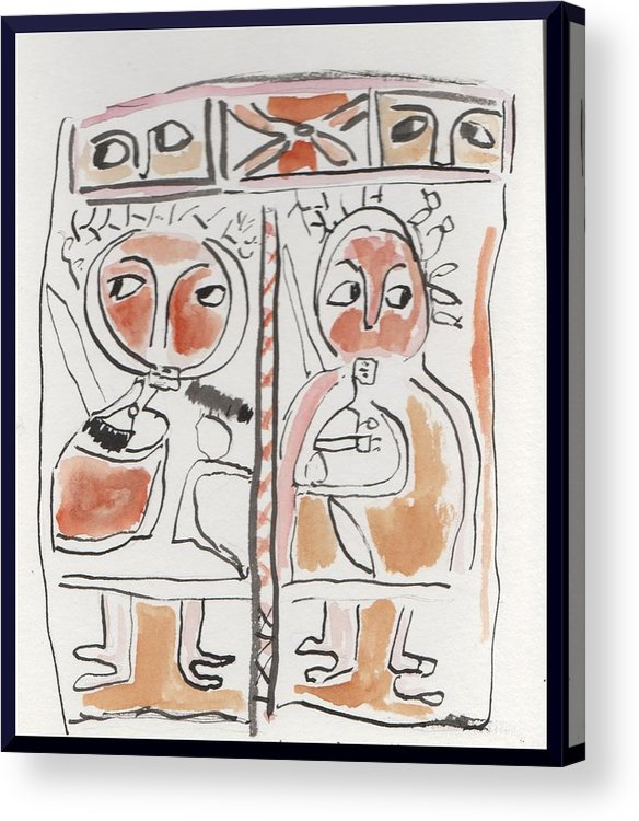 From A Visit To The British Museum. Ancient Egyptian Art Fascinates. Acrylic Print featuring the painting Egyptian Couple by Gary Kirkpatrick
