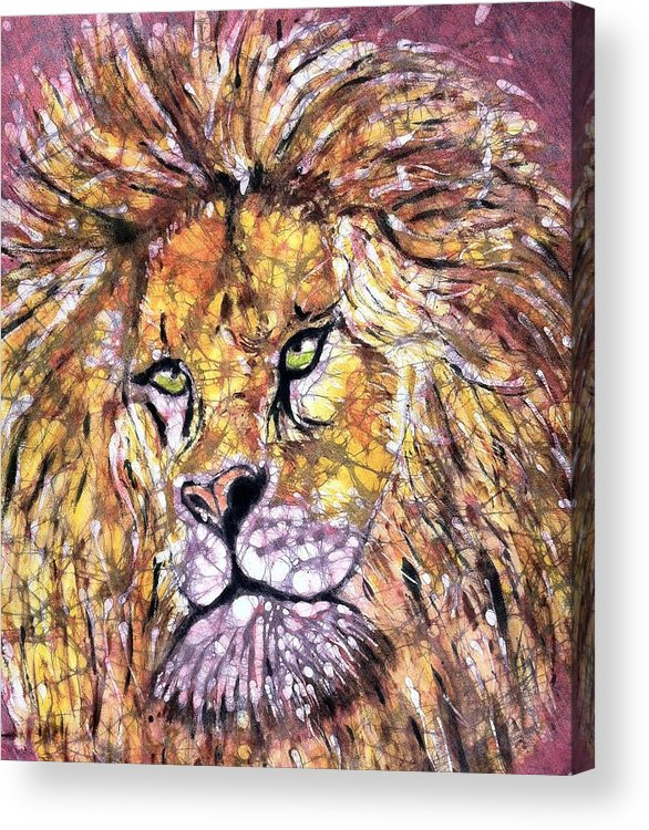 Lion Acrylic Print featuring the painting Lion1 by Jill Tsikerdanos
