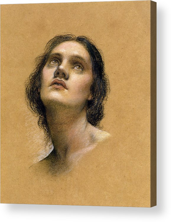 Female; Gaze; Drawing; Upturned Face Acrylic Print featuring the pastel Study Of A Head by Evelyn De Morgan