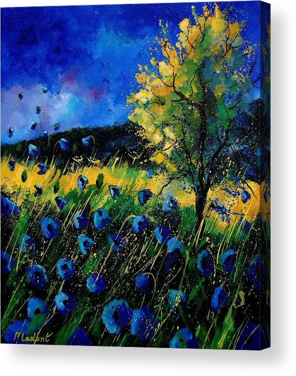 Poppies Acrylic Print featuring the painting Blue Poppies by Pol Ledent