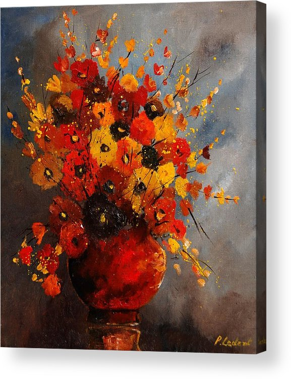 Flowers Acrylic Print featuring the painting Bunch 0708 by Pol Ledent