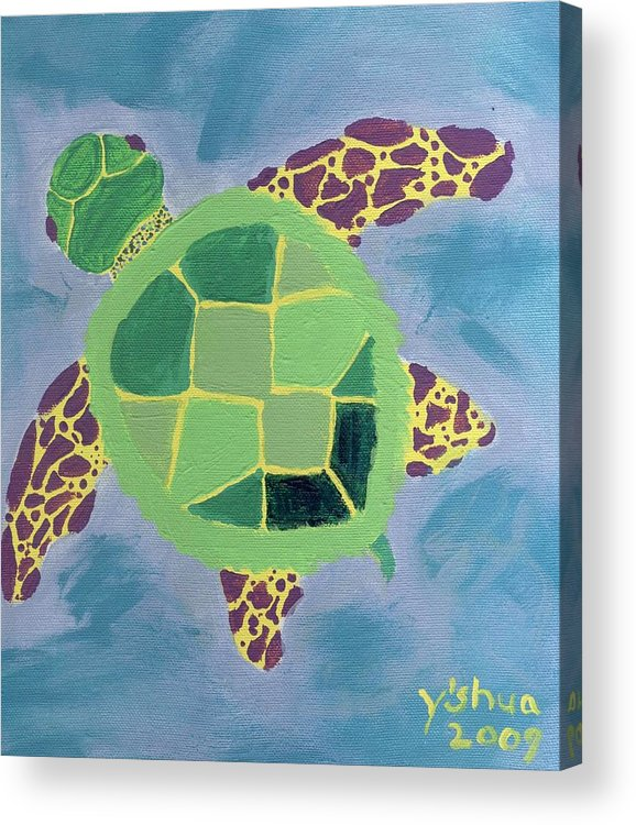 Sea Turtle Acrylic Print featuring the painting Chiaras Turtle by Yshua The Painter