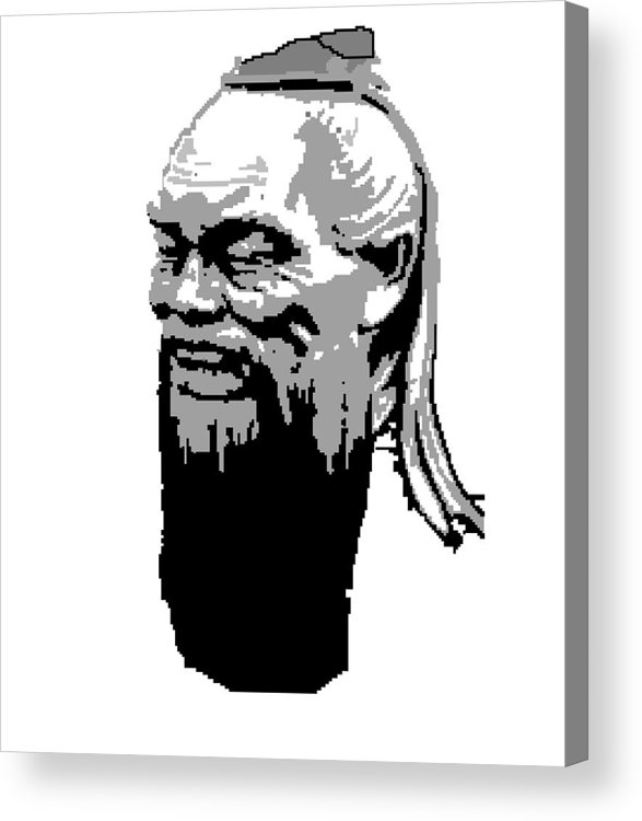 Acrylic Print featuring the digital art Confucius - Portrait By Asbjorn Lonvig by Asbjorn Lonvig