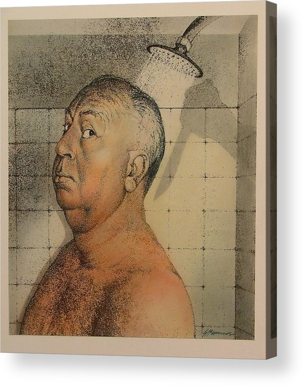 Portrait Acrylic Print featuring the painting Alfred Hitchcock The Shower by Gary Kaemmer