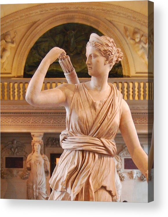 Athena Acrylic Print featuring the digital art Athena Statue by Nancy Bradley