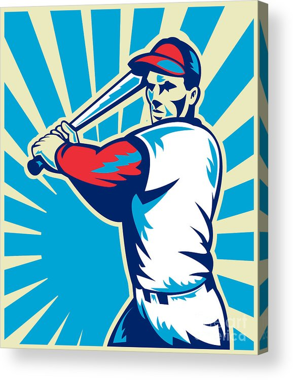 Baseball Acrylic Print featuring the digital art Baseball Player Batting Retro by Aloysius Patrimonio