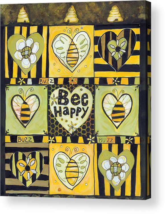 Bee Acrylic Print featuring the painting Bee Happy by Jen Norton