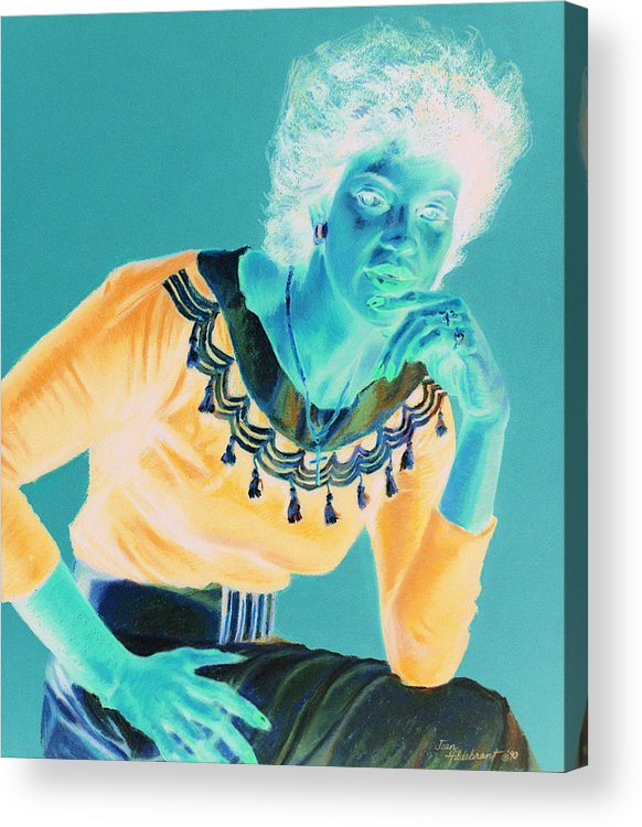 Portrait Acrylic Print featuring the painting Bobbi by Jean Hildebrant