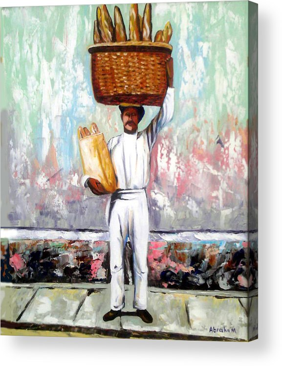 Bread Acrylic Print featuring the painting Breadman by Jose Manuel Abraham
