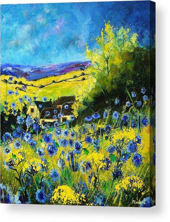 Flowers Acrylic Print featuring the painting Cornflowers In Ver by Pol Ledent