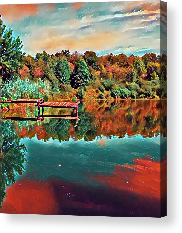 Colorful Acrylic Print featuring the digital art Country Lake by Michael Lynn Attaway
