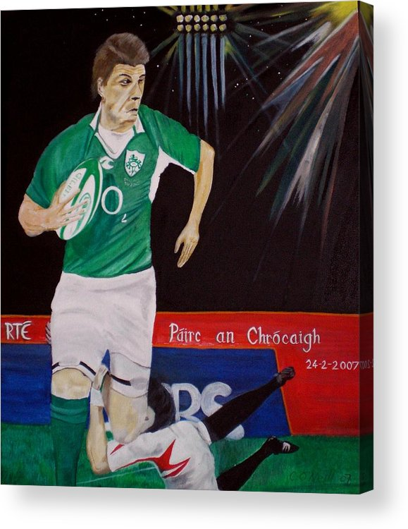 Brian O Driscoll Acrylic Print featuring the painting Croker by Colin O neill