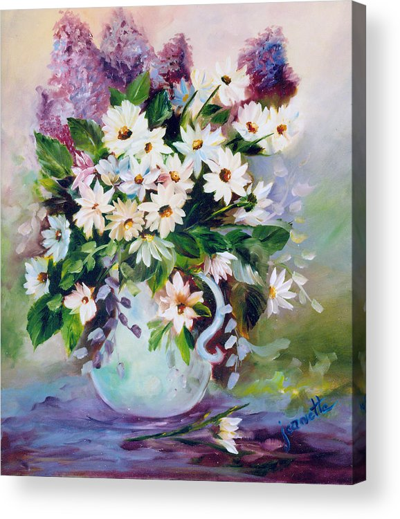 Floral Acrylic Print featuring the painting Daisies And Lilacs by Jeanette Fowler