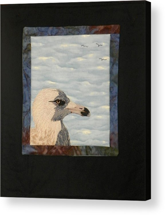 Birds Acrylic Print featuring the tapestry - textile Eye Of The Gull by Jenny Williams