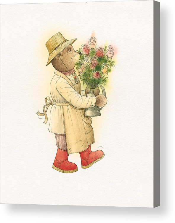 Love Garden Flowers Roses Bears Acrylic Print featuring the painting Florentius The Gardener01 by Kestutis Kasparavicius