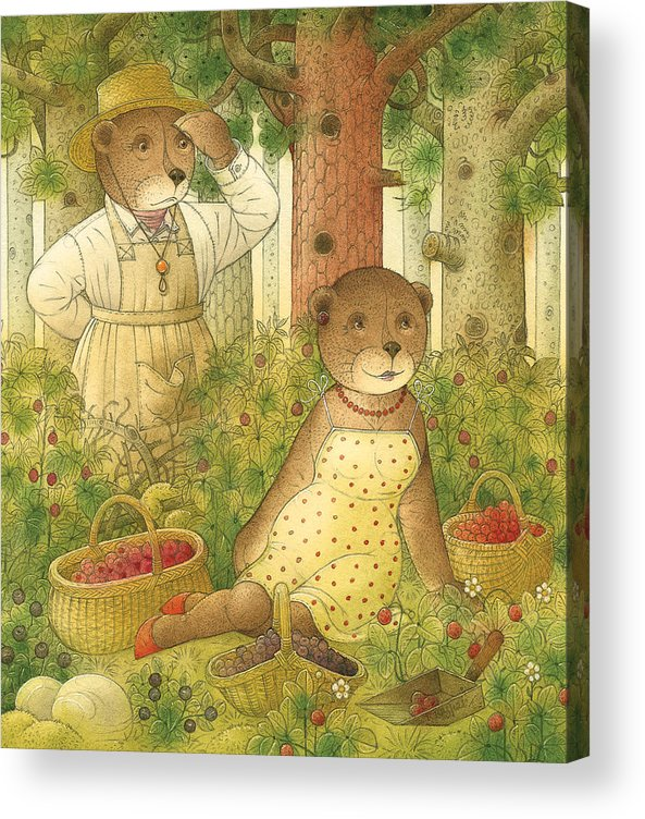 Bears Forest Love Flirt Berry Glamour Acrylic Print featuring the painting Florentius The Gardener12 by Kestutis Kasparavicius