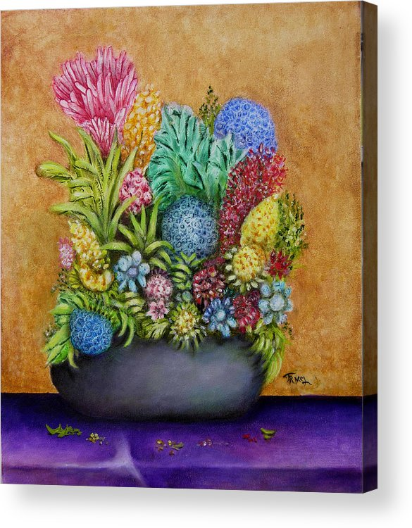 Flowers Acrylic Print featuring the painting Flowers Base by Fernando Armel