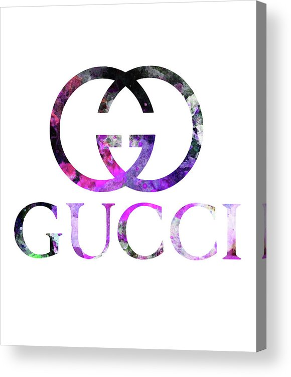 7592d3c3243 Gucci Acrylic Print featuring the digital art Gucci Logo 1 Watercolor 1 by  Del Art