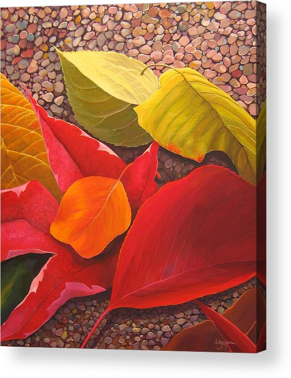 Autumn Leaves Acrylic Print featuring the painting Happy Landings by Hunter Jay