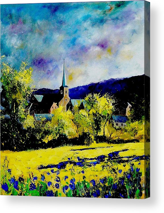 Poppies Acrylic Print featuring the painting Hour Village Belgium by Pol Ledent