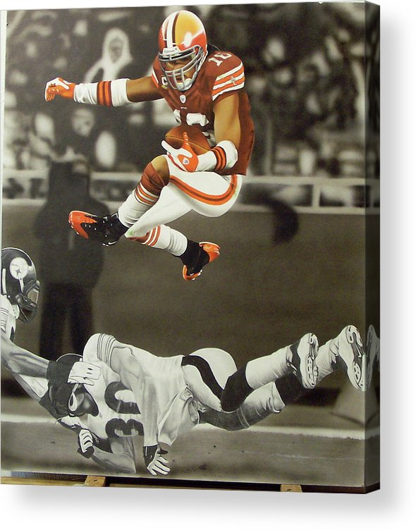 Sports Acrylic Print featuring the mixed media Josh Cribbs by Brett Cremeens