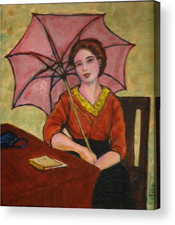 Acrylic Print featuring the painting Lady With An Umbrella by Asha Sudhaker Shenoy