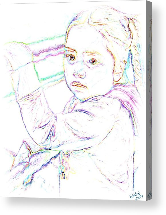 Child Acrylic Print featuring the drawing Little Princess by Shelley Bain