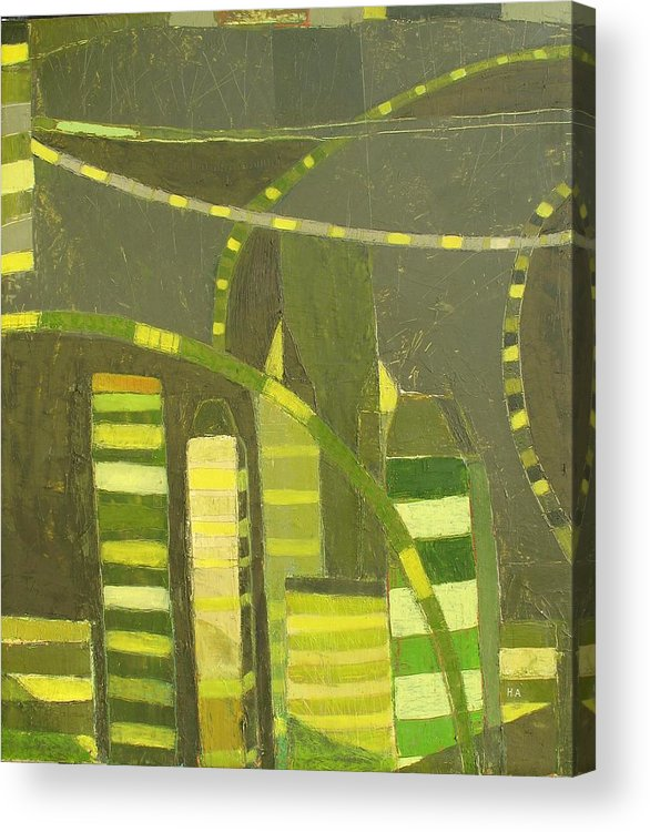 Nyc Acrylic Print featuring the painting Nyc In Deep Green by Habib Ayat