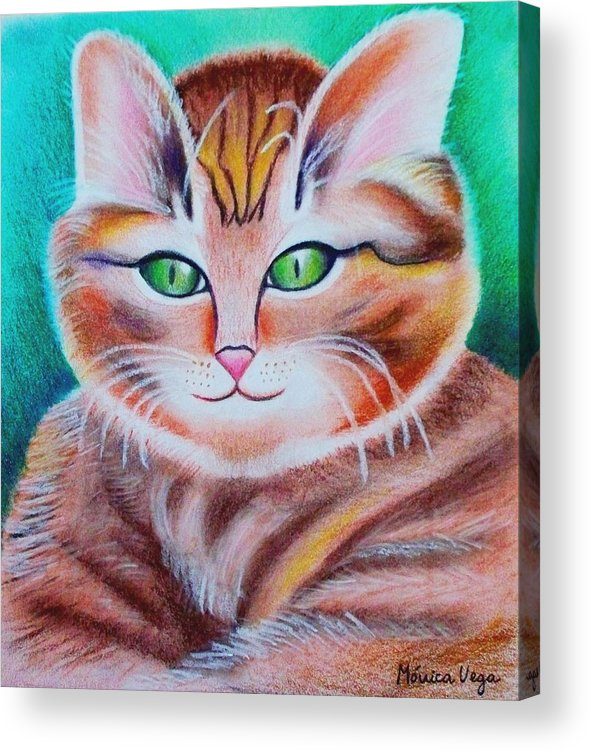 Nature Acrylic Print featuring the drawing Portrait Of A Kitten by Monica Vega