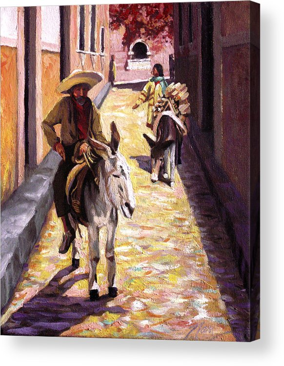 Impressionism Acrylic Print featuring the painting Pulling Up The Rear In Mexico by Nancy Griswold