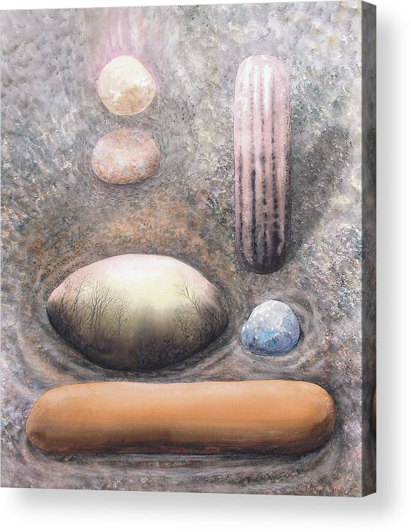 Abstract Acrylic Print featuring the painting River Rock 1 by Valerie Meotti