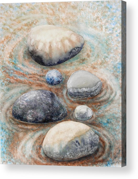 Abstract Acrylic Print featuring the painting River Rock 2 by Valerie Meotti