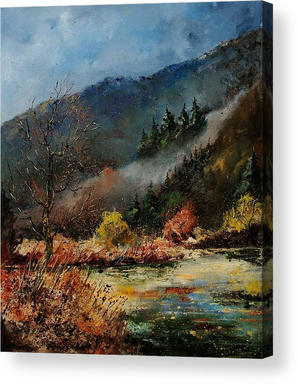 River Acrylic Print featuring the painting River Semois by Pol Ledent