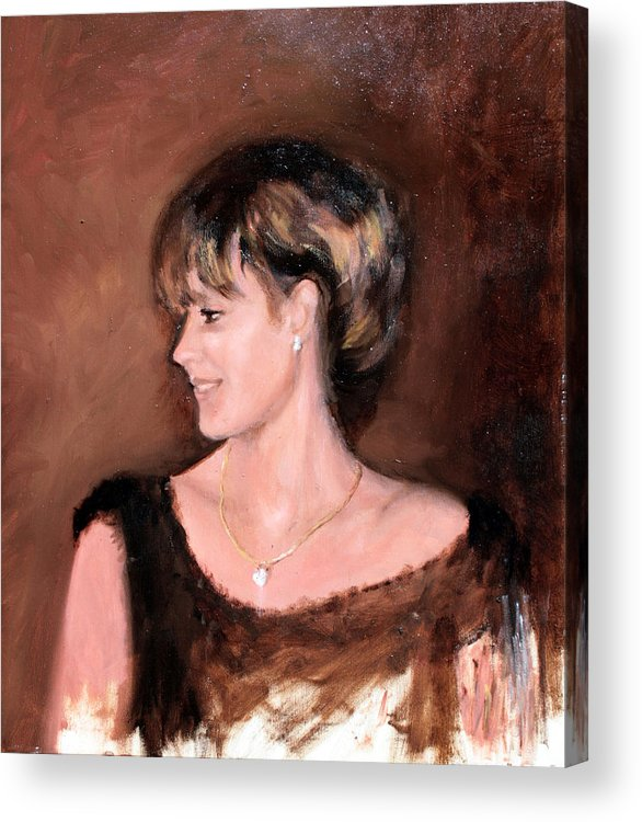 Portrait Acrylic Print featuring the painting Sara by Mario Zampedroni