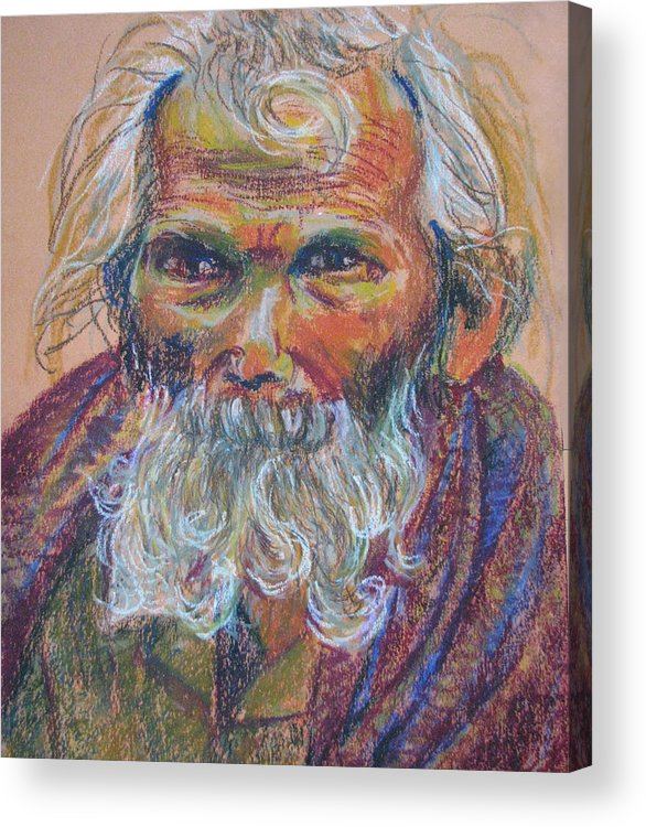 Old Man Acrylic Print featuring the painting Scared Old Begger by Art Nomad Sandra Hansen