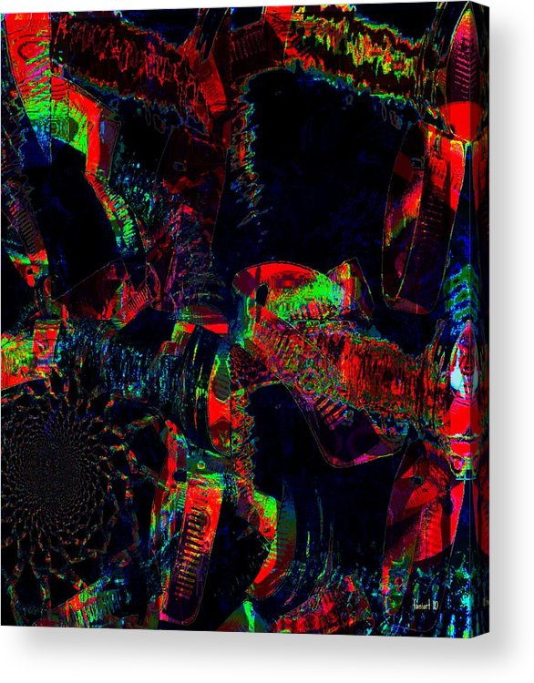 Fania Simon Acrylic Print featuring the digital art Science At Night by Fania Simon